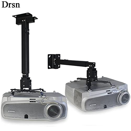 Drsn Universal Projector Ceiling mount Height Extendable Projector Wall Mount Video Projector Bracket Stand 3 in 1 360/° Rotatable Head Extendable Length for Projectors CCTV DVR Camera Silver