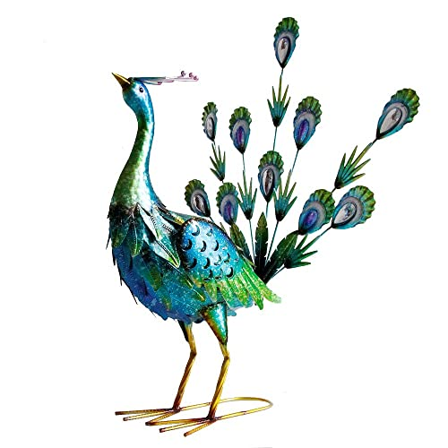 Buy Graceful Peacock Statues Outdoor Metal Art Decoration For Garden Lawn Patio Backyard Size 21x17x21 Inches Online In Panama B07n1glm19