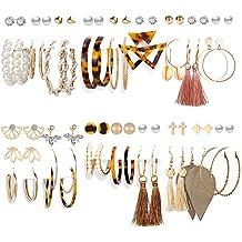 30 Pair Vintage Statement Hoop Earrings Fashion Earring for Valentine Birthday Party Gift Pearl Earrings Stud Set Bohemian Drop Dangle Earrings Set